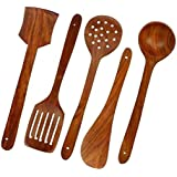 Home Belle Multipurpose Serving And Cooking Spoon Set For Non Stick Spoon For Cooking Baking Kitchen Tools Essentials Wooden Non Stick Spatulas & Ladles Wooden Spoon Set Of 5 | 1 Frying, 1 Serving, 1 Spatula, 1 Chapati Spoon, 1 Desert For Kitchen &amp