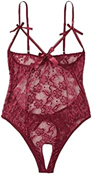 Women Bow Lace Hollow Open Crotch Teddy Bodysuit Backless Jumpsuit Lingerie