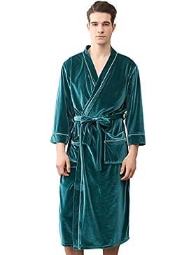 SUIMO - Albornoz Kimoni para Mujer Hombre de Baño Ducha Bata de Baño de Terciopelo Suave para Dormir Casa Hotel...