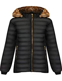 b79e3ba7fa36 WearAll Women s Plus Long Sleeve Faux Fur Collar Hood Puffer Jacket Ladies  Coat Zip Pocket 14