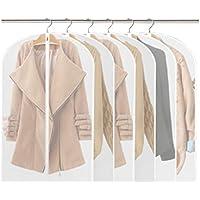Fundas de ropa,Fundas Ropa PEVA Transparente Impermeable Anti-polvo a Prueba de Humedad Cremallera Completa 6pcs(60×100cm )