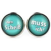 SCHMUCKZUCKER Damen Ohrstecker mit Spruch Nen Scheiß - muss ich witzige Modeschmuck Ohrringe silber-farben türkis 14mm