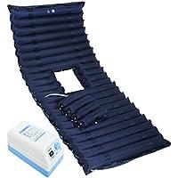 Lxn Colchón anti-decúbito inflable del PVC para el hogar médico, incluye la pompa eléctrica y el orificio del orinal (azul profundo)