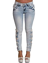 Women's Ladies Denim Skinny Blue Fit Cream Lace Floral Casual Jeans