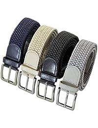 0ea6b7435a3ea4 Komfortabel Elastische Geflochtener Stretch Gürtel - Stretchbelt -  Stoffgürtel - Flecht mit pu Leder für Damen und…