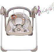 Columpio eléctrico de color caqui para bebés, asiento para recién nacidos, cuna para bebés nuevos, 6 velocidad