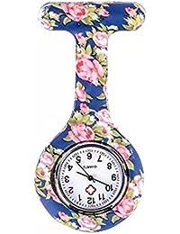 naisicatar reloj de enfermera broche Fob des infirmieres Túnica Unisex Doctor Enfermera Flor Broche colgante de bolsillo reloj de cuarzo de bolsillo con clip # Flor con fondo azul # X 1