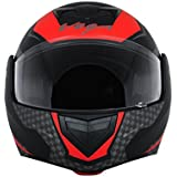 Vega Crux DX Full Face Helmet (Checks Dull Black and Red, L)