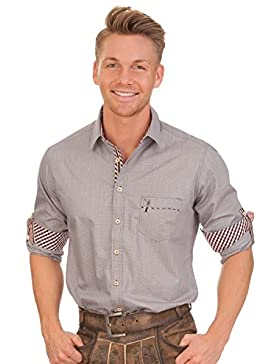 Trachtenhemd mit langem Arm - ENRICO - grau