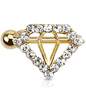 Paula & Fritz® Ohrklemme aus Edelstahl Chirurgenstahl vergoldet Motiv Diamant besetzt mit Zirkonia für Ohr Links...
