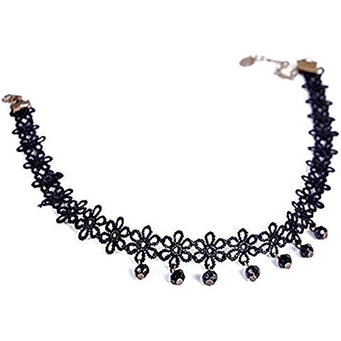 Victoria Echo Mujer Encaje De Flores Gargantilla Collar con Colgante en forma de negro Gem