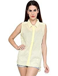 I AM for You Casual Collar Sleeveless Printed Shirt with Hidden Plackets for Women's & Girl's