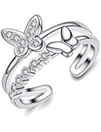 Sewanz - Anillo para mujer, plata de ley, con cristales, diseño de mariposa