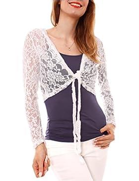 Camiseta de manga larga mujer sexy Top como para joven y cuello redondo o Bolero de encaje transparente langärmlig...