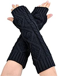 Ardisle Señoras Mujeres Negro Brazo largo Guantes sin dedos Mitones Calentadores de mano Crochet