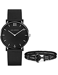 PAUL HEWITT Perfect Match Set Uhr Sailor Line Black Sunray und Ankerarmband PHREP aus Nylon mit Anker in IP Schwarz in Größe XL