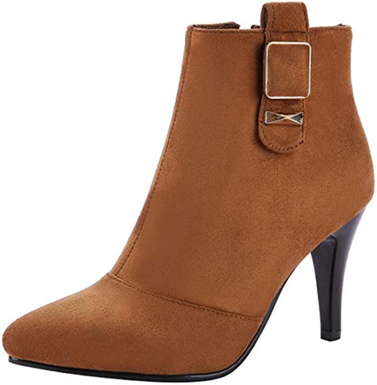 5596101372f Artfaerie Women s Faux Strappy Buckle Stiletto Heel Heel Heel Pointed Toe  Fashion Ankle Shoe Boots Zip