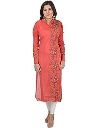 ANTARNAAD Women's Chanderi Straight Semi Stitched Dress Material (AP0220, Red)