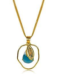 Miranika Gold Plated Pendant for Women (Blue)(C1D1ARP)