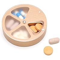 uctop Store Natural takubi Holz Pillendose 4Fächer Groß Medizin Pille Organizer Just Drehen ES können Sie die... preisvergleich bei billige-tabletten.eu