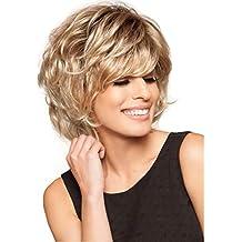 Royalfirst corto leggermente ricci parrucche per le donne Fluffy – Parrucca  capelli biondi calore parrucca parrucche 8b0683277274