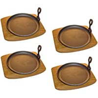 Servierpfanne rund Gusseisen mit Holzuntersetzer 4 Stück