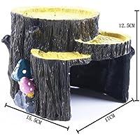 NaXinF Roca Escalera con Planta de Ornamentos de árbol de Acuario con la casa de Seta para el pez de Acuario