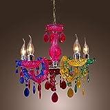 Homelava Lámpara de araña con 5 Luces, Diseño de Multicolor, Diámetro de 45 cm para Salón, Comedor, Habitaciones,Bar