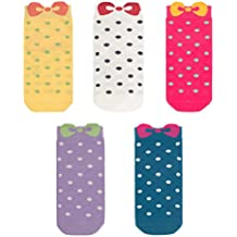 Calcetines sin costura de arco de algodón de la novedad Paquete de 5 para las muchachas