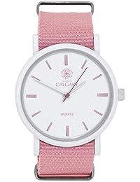 Relojes Calgary Pink Coral, Reloj Vintage para Mujer, Correa de Tela Rosa, Esfera