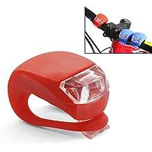 Grenhaven - Mini LED lámpara Luz frontal para manillar de bicicletas de silicona mobile lámpara, Cubierta de silicone para Bici MTB BMX Moto Cochecito iluminación bicicleta camping – rojo