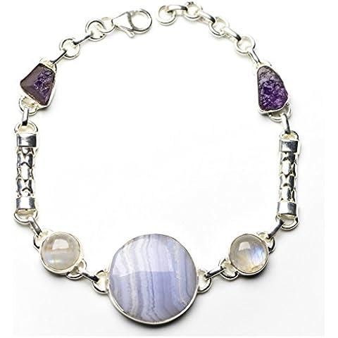 stargems (TM) Blu Naturale agata, ametista, pietra di luna e rari Cluster braccialetto in argento Sterling 92571/4–81/4