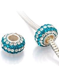 "Andante-Stones 925 Sterling Silber Kristall Bead ""Ocean wave"" Element Kugel für European Beads + Organzasäckchen"