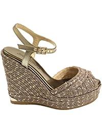 Jimmy Choo Mujer PERLA120 Gris Tela Zapatos De Cuña