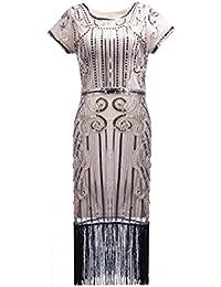 Clothin Mujeres del estilo de los años veinte lentejuelas cuentas flecos Flapper vestido vintage inspirado gran