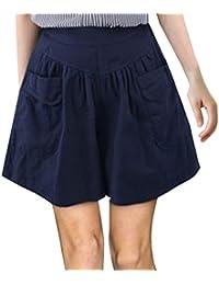 b4f7ea5d6ede Onenight Estate Donna Moda Tinta Unita Corti Pantaloni Hot Pants con Tasca  Shorts Casual Taglie Forti