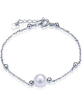 Unendlich U Einfach Damen Armband 925 Sterling Silber 8mm Perle Kugeln Beads Charm Armkette Verstellbar Armkettchen...