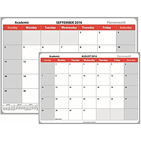 2016/17, Mid Planner calendario da muro, note Box 13 mese, A4, Gruccia in fil di ferro, per studenti, scuole, università Essential by Plannerworld (ACAL 16 A4) A4 (small) red, grey - Tredici Mesi Calendario