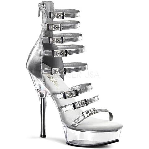 Scarpe donna tacchi alti schiava NERI ARGENTO sexy plateau PLEASER ALLURE (6 Sexy Silver Shoe)
