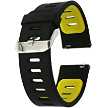 22mm correa silicona , EL-move 22MM Silicona Banda Correas Brazalete de Pulsera para Pebble Time / Gear S3 Classic / Gear2(Black Yellow)