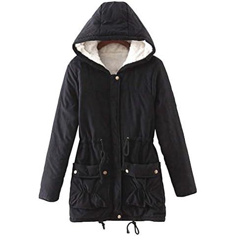 LvRao Mujer chaqueta de abrigo para invierno chaquetas con caliente capucha espesan forro de piel