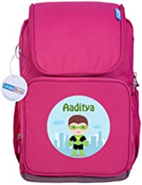UniQBees Personalised School Bag With Name (Smart Kids Large School Backpack-Pink-Green)