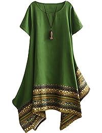 Vogstyle Donna Estate Lino Cotone Manica Corta Maglietta Tops Shirt Vestito 1a09c0ebc93