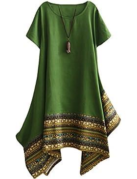 [Sponsorizzato]Vogstyle Donna Estate Lino Cotone Manica Corta Maglietta Tops Shirt Vestito