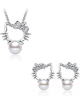 Bettwäsche Schmuck 4-teilig Hello Kitty Perle Perlmutt Silber 925