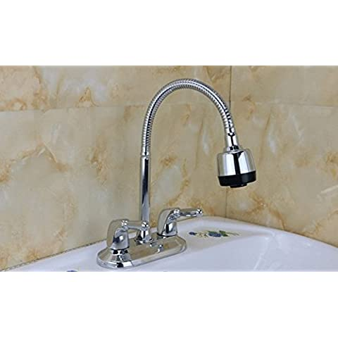 BFDGN Simple Durable and Sturdy Copper Brushed Basin-Wide Brass Tap Hot And Cold-Basin Dual Holes (Heater Hose Valve)