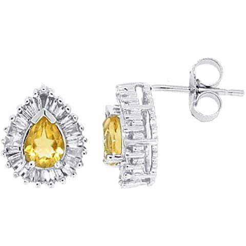 0.56Ct a forma di pera citrino orecchini diamanti oro bianco 14Kt - 4 C Gemme Gioielli