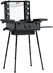 Makeup Train Stand Case With Pro Studio Artist Trolley And Lights