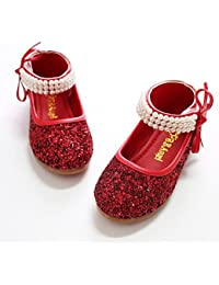 BULUTO Girl Shoes Girls' Shoes Dress Round Toe Flats More Colors available , red , us3 / eu34 / uk2 little kids