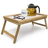 Relaxdays Betttablett Bambus, faltbar, Serviertablett für Frühstück im Bett mit klappbaren Beinen als Tabletttisch und Sofatisch Beistelltisch mit Tablett aus Kunststoff, natur